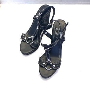 Coach MaryAlice Black Python Wedges